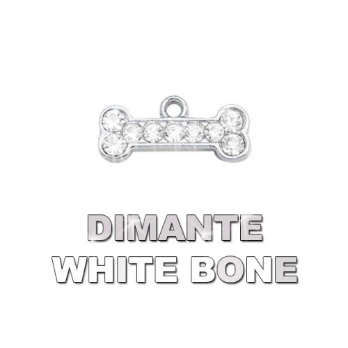 Charm Bone White Dimante