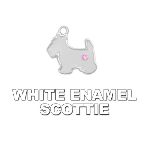 Charm White Enamel Scottie
