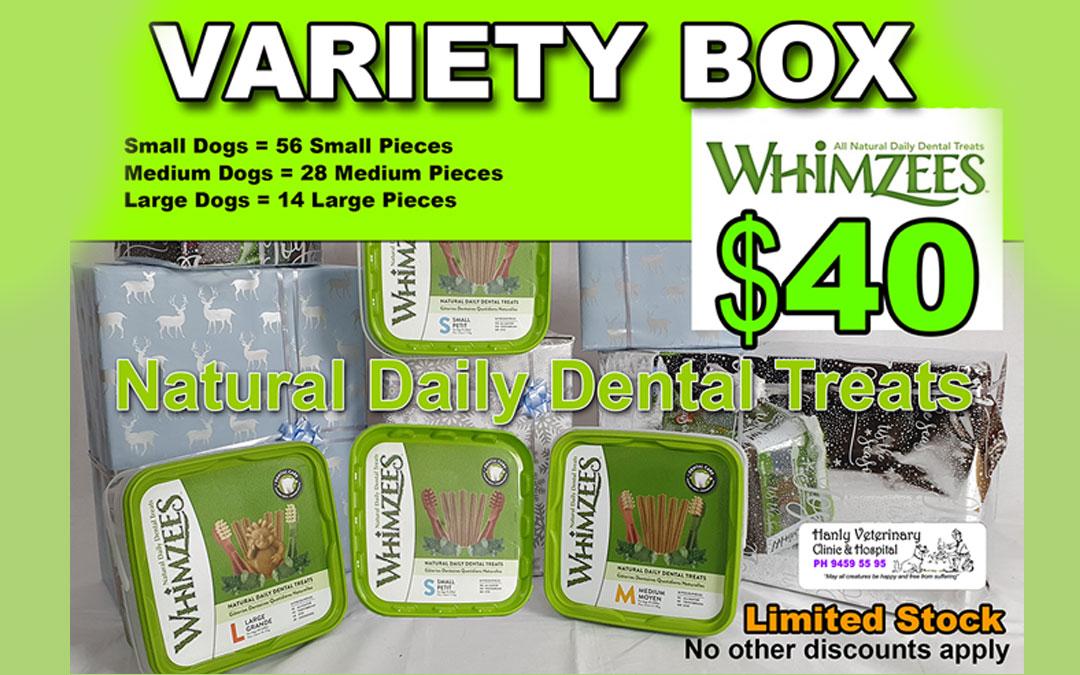 Whimzees Dental Treats Variety Box $40